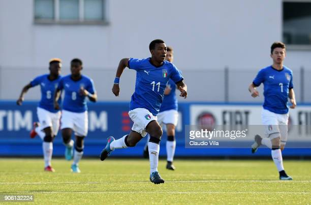 Jean Freddi P Greco of Italy in action during the U17 International Friendly match between Italy and Spain at Juventus Center Vinovo on January 17...