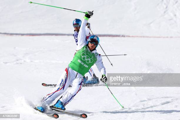 Jean Frederic Chapuis of France celebrates winning the gold medal during the Freestyle Skiing Men's Ski Cross Big Final on day 13 of the 2014 Sochi...