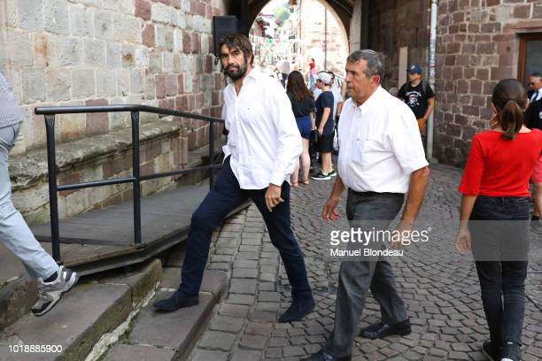 Jean Frederic Dubois is seen at the burial of Pierre Camou in Saint Jean Pied de Port during the Funeral of former rugby player Pierre Camou on...