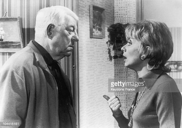 Jean GABIN and Annie CORDY in a scene from Pierre GranierDeferre's film LE CHAT in France on December 15 1970