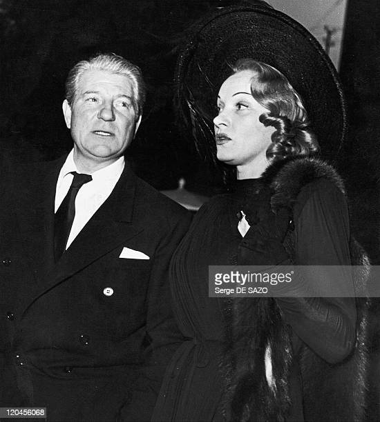 Jean Gabin And Marlene Dietrich In Joinville Le Pont, France In 1946 - The couple of actors leaving the Joinville studios where they shoot Martin...