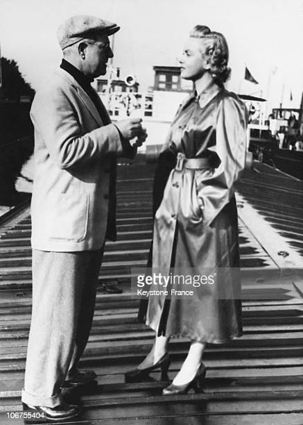 Jean Gabin And Nadia Gray In A Scene Of The Film La Vierge Du Rhin 1953