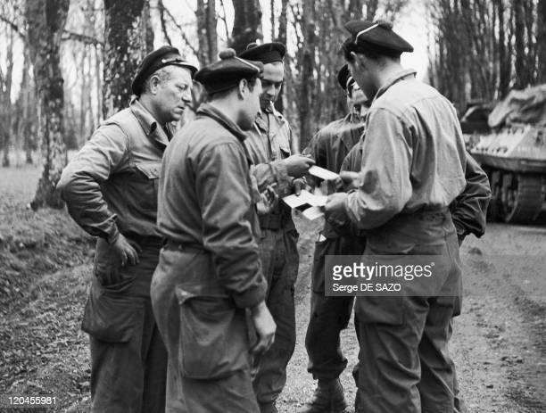 Jean Gabin In France In March, 1945 - The French actor Jean Gabin, real name Jean Moncorze, second master and tank leader of the Leclerc division,...