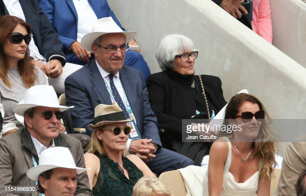 Jean Gachassin and his wife attend the men's final during day 15 of the 2019 French Open at Roland Garros stadium on June 9 2019 in Paris France