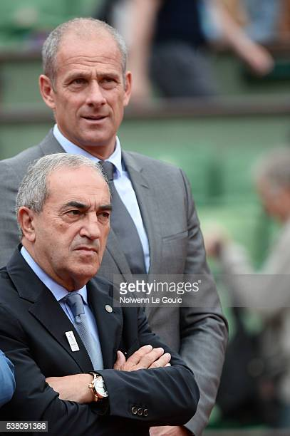 Jean Gachassin president of the french tennis federation and Guy Forget director of Roland Garros during the day fourteen of the French Open 2016 at...