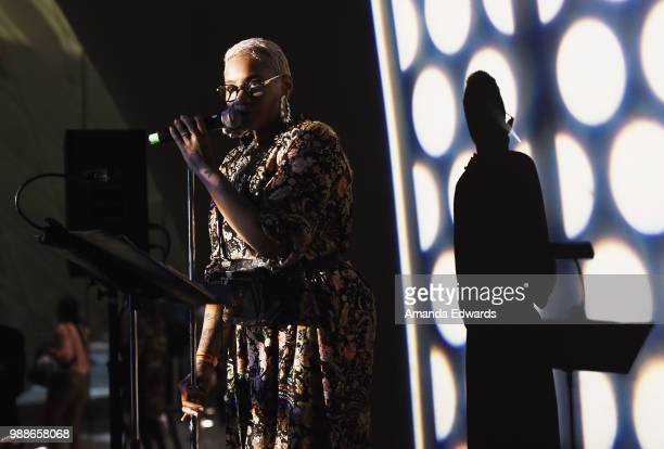 Jean Grae's Church of the Infinite You performs at Summer Happenings At The Broad A Journey That Wasn't Part 1 at The Broad on June 30 2018 in Los...