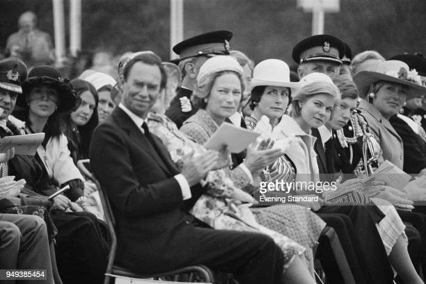 Jean Grand Duke of Luxembourg and his wife Princess Josephine Charlotte of Belgium attend a ceremony 5th August 1977