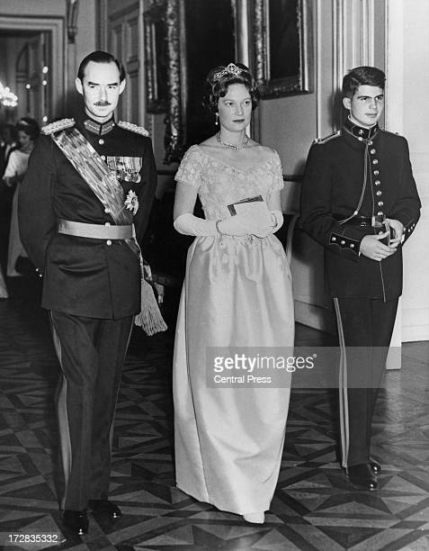 Jean Grand Duke of Luxembourg with his wife Princess Josephine Charlotte of Belgium accompanied by Prince Alexander of Belgium attend a banquet given...