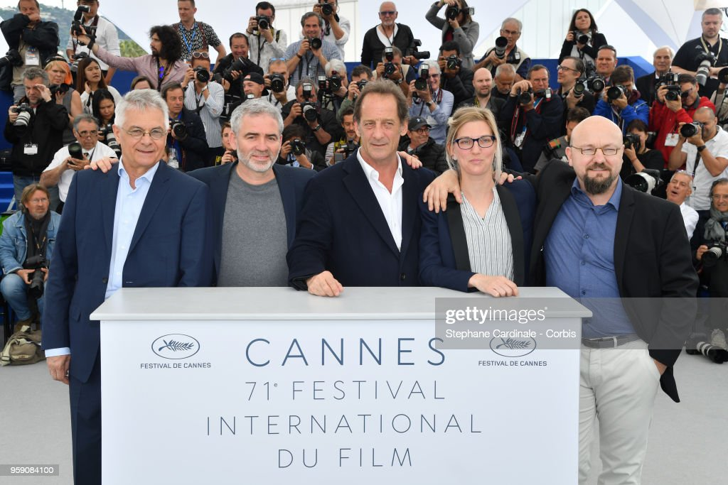 Jean Grosset, director Stephane Brize, actor Vincent Lindon, Melanie Rover, and Olivier Lemaire attend the press conference for 'In War (En Guerre)' during the 71st annual Cannes Film Festival at Palais des Festivals on May 16, 2018 in Cannes, France.