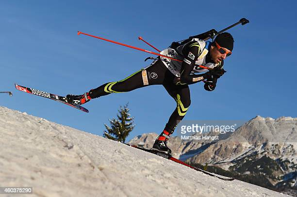 Jean Guillaume Beatrix of France competes in the men's 10 km sprint event during the IBU Biathlon World Cup on December 12 2014 in Hochfilzen Austria