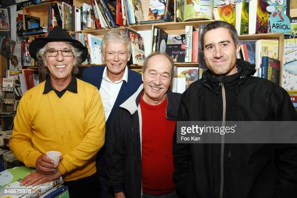 Jean Guy Fechner Richard Bonnot Jean Sarrus from Les Charlots band and director Francois Ruffin attend Schnock 21 Magazine Launch at Philippe Le...