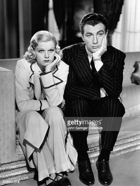 Jean Harlow and Robert Taylor playing the lead roles of Crystal Wetherby and Robert Dabney in the 1937 comedic romance Personal Property