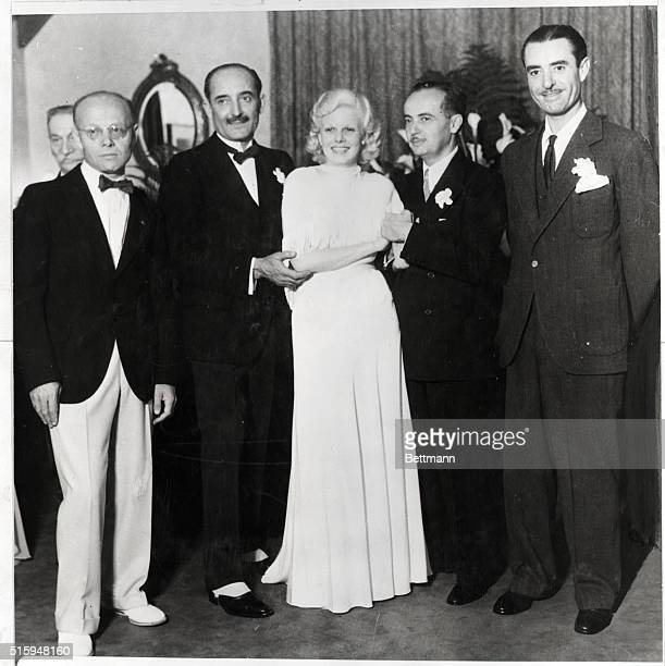 Jean Harlow at marriage to Paul Bern film executive 1932 with stepfather Count Bello and best man John Gilbert
