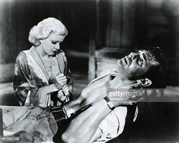 Jean Harlow she of lusty memory made audiences wince by shooting Clark Gable in the abdomen and then repented by sterilizing the wound in Red Dust