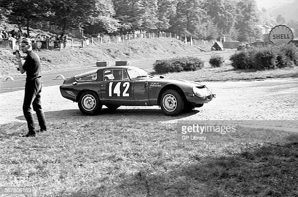 Jean HebertGeorges Burggraff's Alfa Romeo Giulia TZ at the Nouveau Monde Hairpin on the RouenlesEssarts stage Tour de France 20 Sept 1964