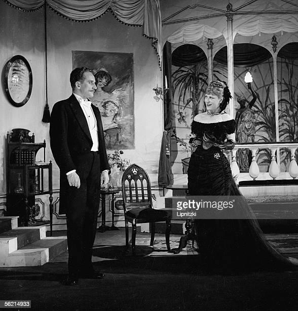 Jean Herdsman and Eleonore Hirt in An ideal husband of Oscar Wilde Production of JeanMarie Serreau Paris theatre de l'Oeuvre in December 1955...