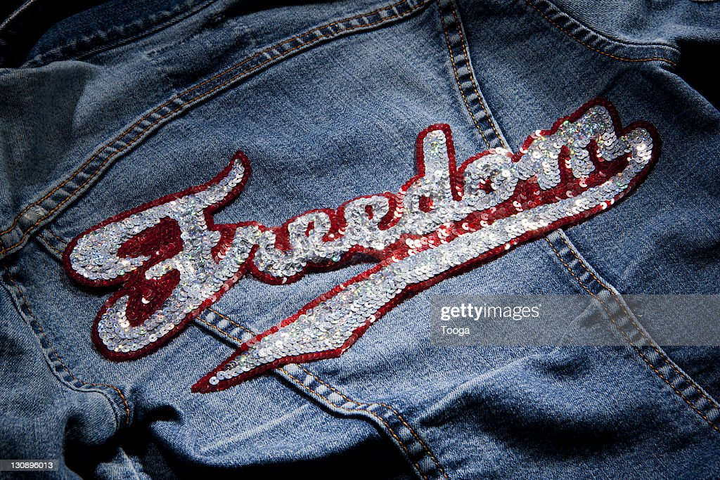 "Jean jacket with ""Freedom"" patch : Stock Photo"