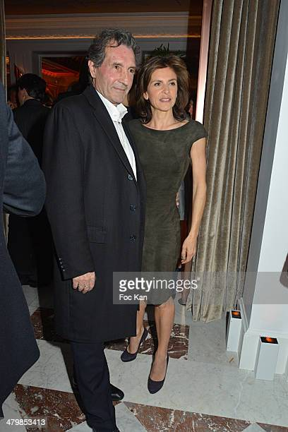 Jean Jacques Bourdin and his wife Anne Nivat attend the 'Neo Burlesque Party' during the Hotel Vernet Opening Cocktail At Hotel Vernet on March 20...