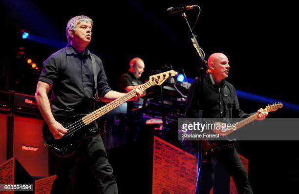 Jean Jacques Burnel Baz Warne and Dave Greenfield of The Stranglers perform at O2 Apollo Manchester on April 1 2017 in Manchester United Kingdom