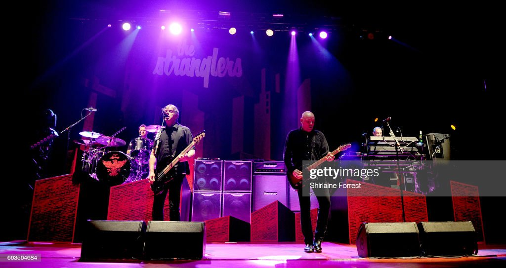 Jean Jacques Burnel, Baz Warne, Dave Greenfield and Jim MacAulay of The Stranglers perform at O2 Apollo Manchester on April 1, 2017 in Manchester, United Kingdom.