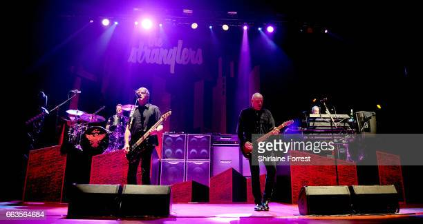 Jean Jacques Burnel Baz Warne Dave Greenfield and Jim MacAulay of The Stranglers perform at O2 Apollo Manchester on April 1 2017 in Manchester United...