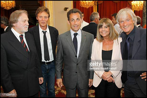 Jean Jacques Debout Patrick Loiseau Nicolas Sarkozy Chantal Goya Dave at Singer Sylvie Vartan Received As Officer In The Legion Of Honor Order During...