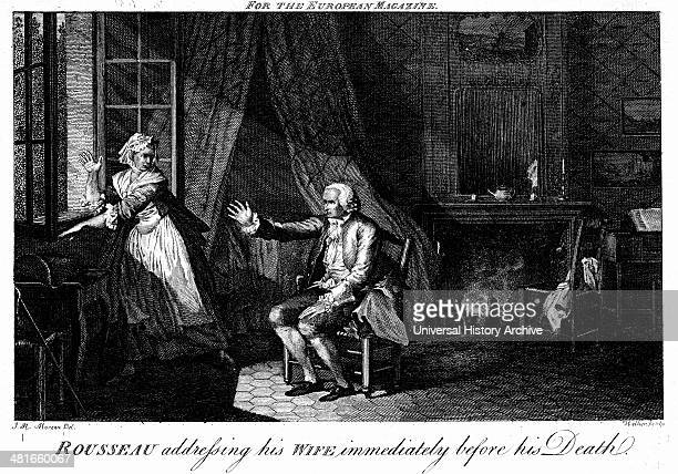 Jean Jacques Rousseau French Enlightenment philosopher and educationalist reaching to the light and speaking to his wife just before his death...