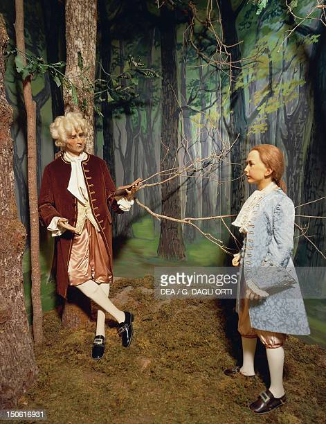 Jean Jacques Rousseau giving a lesson in the grounds of Chenonceau to Claude Dupin's son He will write the treatise for Emile's education Wax Museum...