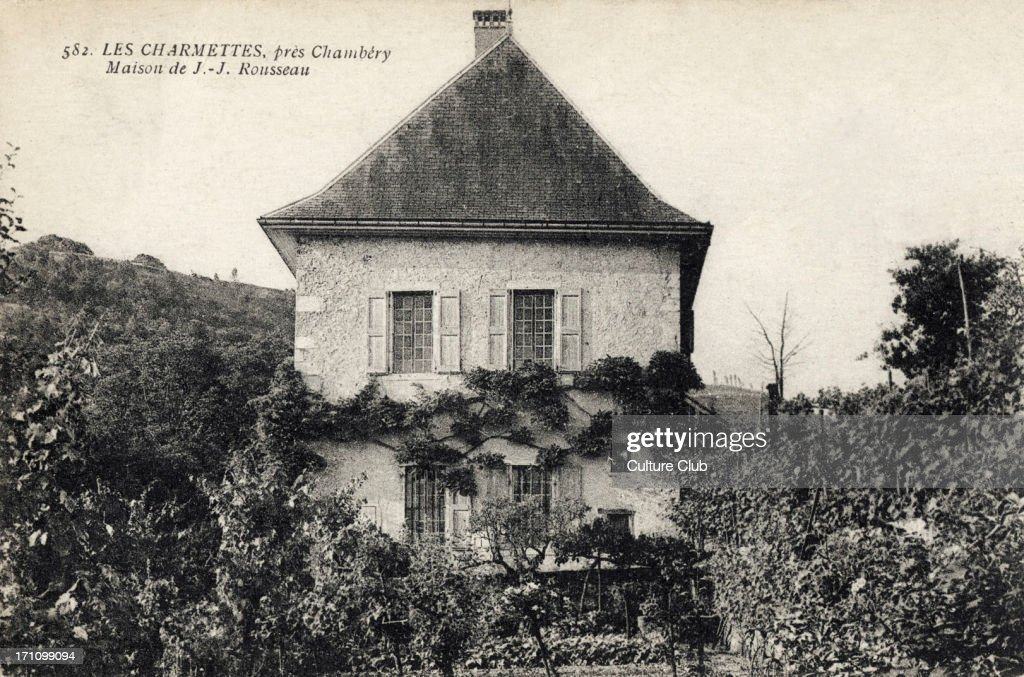 Jean Jacques Rousseau - his house in Les Charmettes, near Chambery - Swiss / French philosopher, writer : News Photo