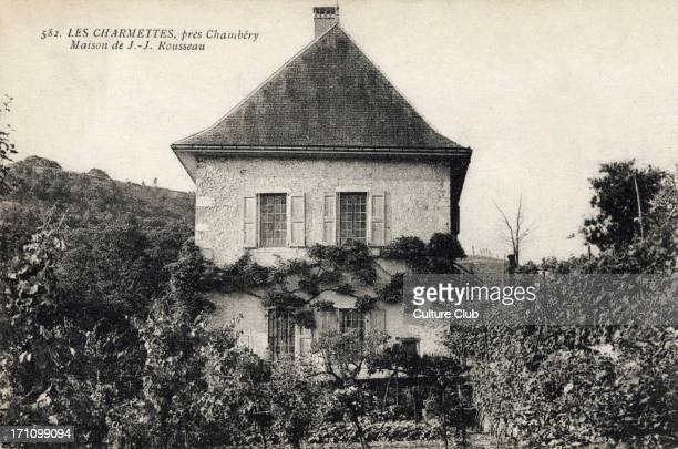 Jean Jacques Rousseau his house in Les Charmettes near Chambery Swiss / French philosopher writer 28 June 1712 2 July 1778 on postcard with stamp and...
