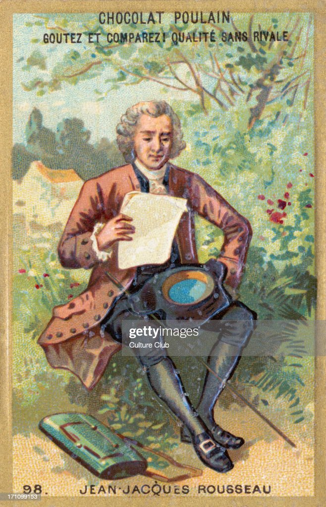Jean Jacques Rousseau - illustration depicting him sitting outdoors reading - Swiss / French philosopher, writer : News Photo