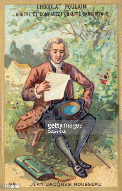 Jean Jacques Rousseau illustration depicting him sitting outdoors reading Swiss / French philosopher writer 28 June 1712 2 July 1778 card produced by...