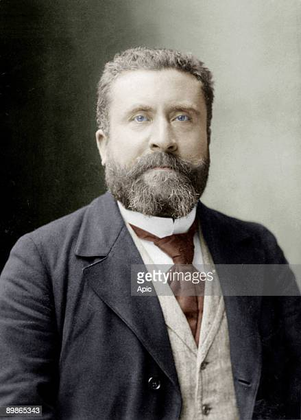 Jean Jaures french socialist politician founder of paper 'L'Humanite' photo by Nadar colorized document