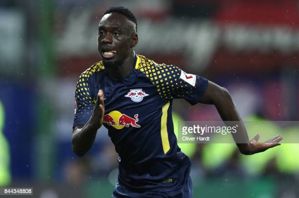 Jean Kevin Augustin of Leipzig in action during the Bundesliga match between Hamburger SV and RB Leipzig at Volksparkstadion on September 8 2017 in...