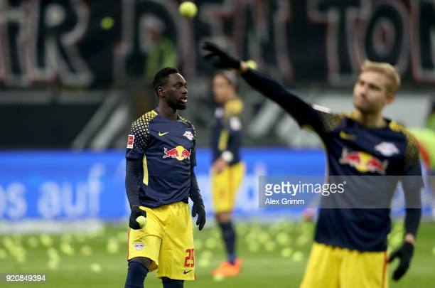 Jean Kevin Augustin of Leipzig reacts during the Bundesliga match between Eintracht Frankfurt and RB Leipzig at CommerzbankArena on February 19 2018...