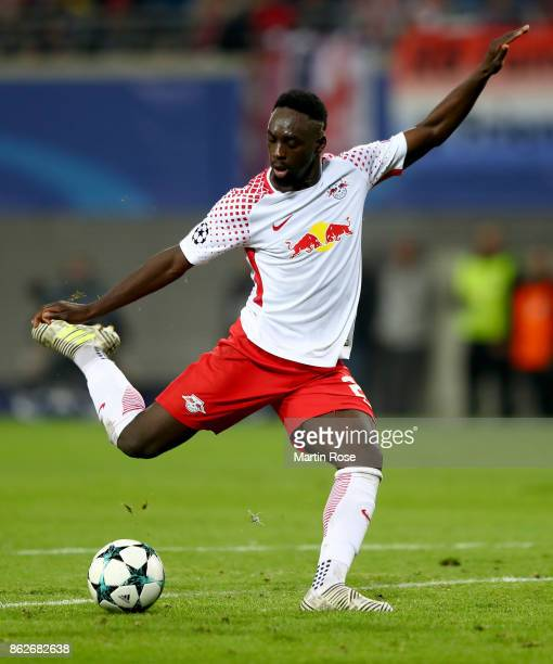 Jean Kevin Augustin of Leipzig runs with the ball during the UEFA Champions League group G match between RB Leipzig and FC Porto at Red Bull Arena on...