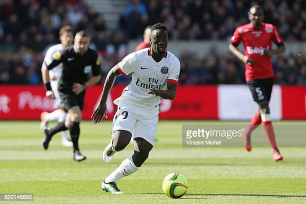 Jean Kevin Augustin of Paris SaintGermain during the French League 1 match between EA Guingamp and Paris SaintGermain on April 9 2016 in Guingamp...