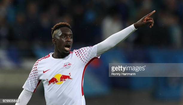 Jean Kevin Augustin of RB Leipzig gestures during the UEFA Europa League Round of 16 match between RB Leipzig and Zenit St Petersburg at the Red Bull...