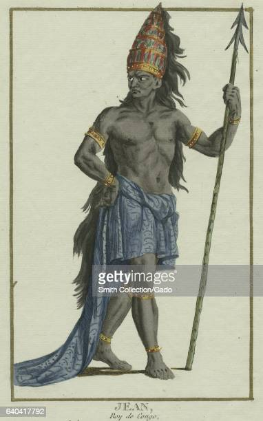 Jean King of the Congo with a large headdress and holding a staff 1849 From the New York Public Library