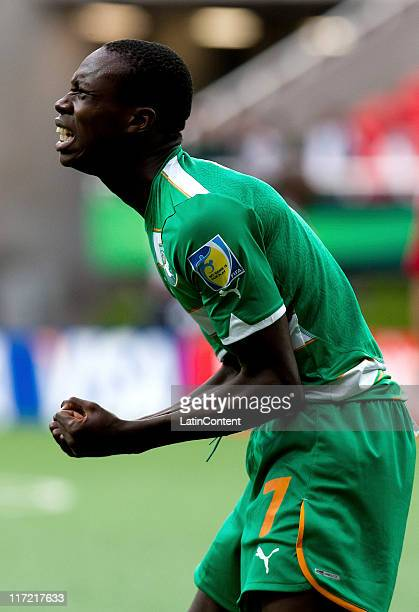 Jean Kouassi of Ivory Coast reacts during the FIFA U17 World Cup Mexico 2011 Group F match between Ivory Coast and Denmark at the Guadalajara Stadium...