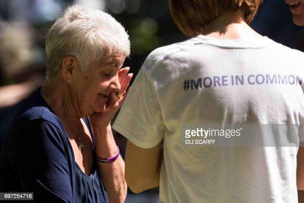 Jean Leadbeater the mother of murdered Member of Parliament Jo Cox attends a 'Great Get Together' community service and picnic in memory of Jo Cox in...
