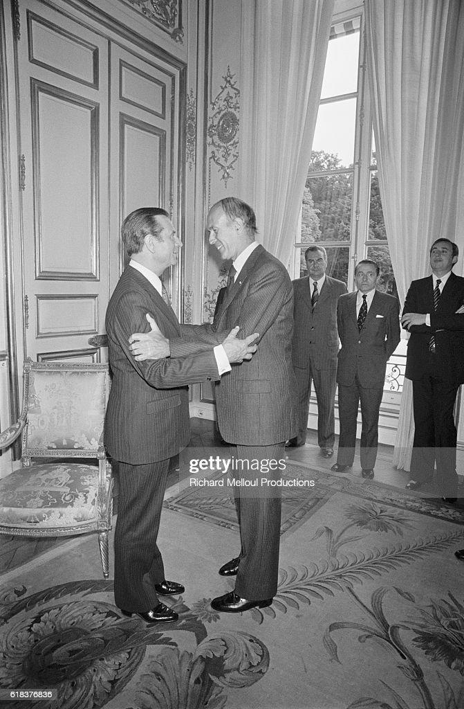 Jean Lecanuet Meets Valery Giscard d'Estaing : Photo d'actualité