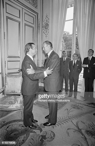 Jean Lecanuet meets Valery Giscard d'Estaing in the Palais de l'Elysee Lecanuet the Mayor of Rouen was decorated with the Legion of Honor award by...