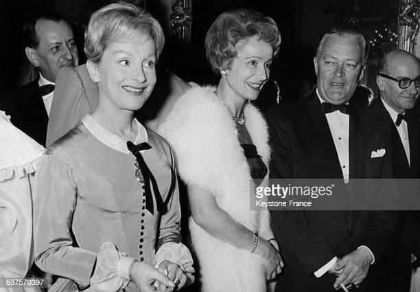 Jean Lesage Prime Minister of the Province of Quebec with Helene Perdrière and Gisele Casadesus during a gala organized at the Comedie Francaise on...