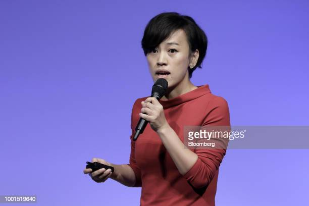 Jean Liu president of Didi Chuxing speaks at the SoftBank World 2018 event in Tokyo Japan on Thursday July 19 2018 SoftBank Group Corp and...