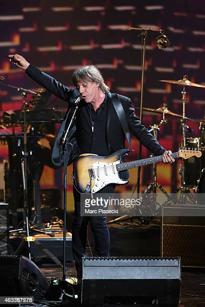 Jean Louis Aubert performs during the 30th 'Victoires de la Musique' French Music Awards Ceremony at le Zenith on February 13 2015 in Paris France