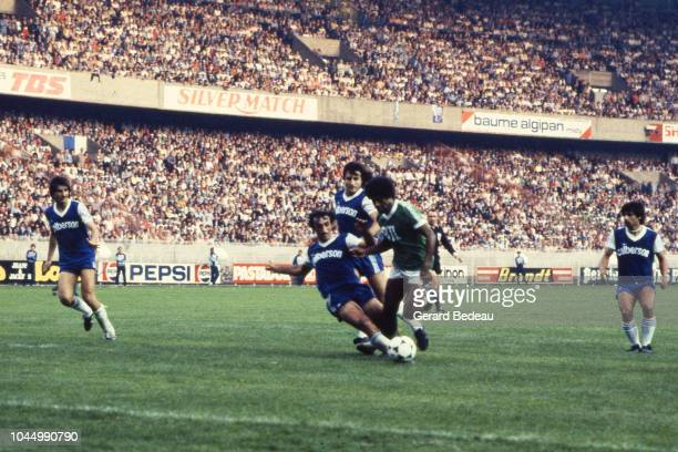 Jean Louis Cazes of Bastia and Jacques Zimako of Saint Etienne during the French national cup final match between Bastia and St Etienne at Parc des...