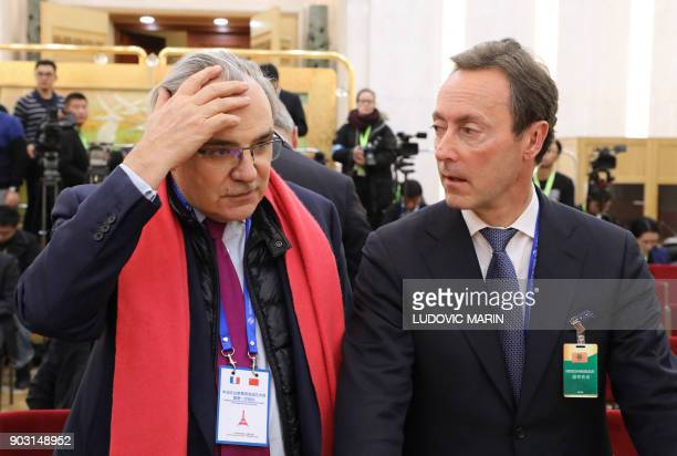 Jean Louis Chaussade CEO of Suez Environnement and Fabrice Bregier managing director of Airbus take part in first meeting of the FrenchChinese...