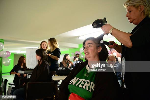 A Jean Louis David hairdressing salon in installed in the tribunes during the basketball French Pro A League match between Nanterre and Paris...