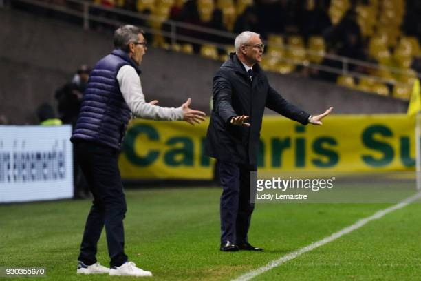 Jean Louis Garcia Headcoach of Troyes and Claudio Ranieri Head coach of Nantes during the Ligue 1 match between Nantes and Troyes AC at Stade de la...